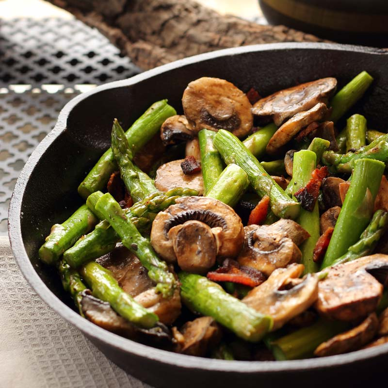 15 Minute Asparagus Mushroom and Bacon | You can't go wrong