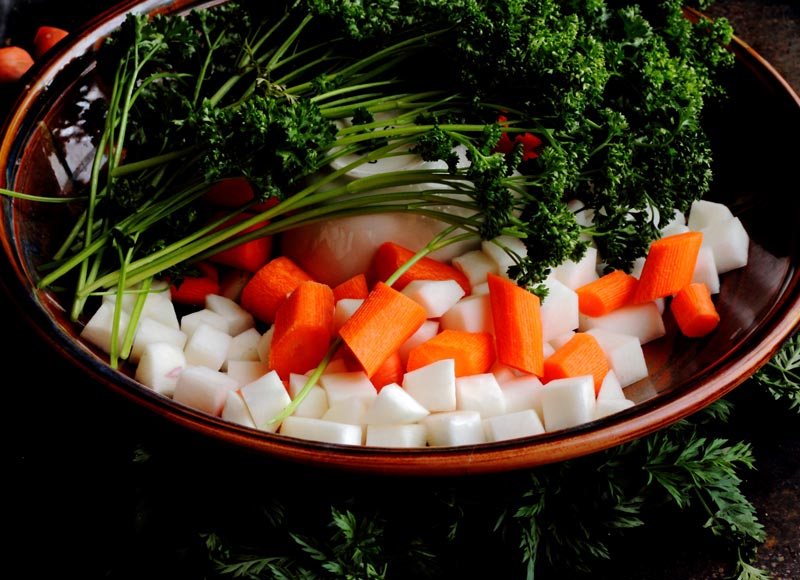 Size of carrots and turnips cut for traditional Irish Stew