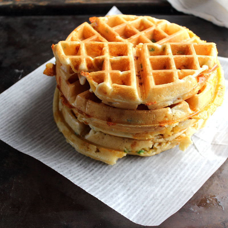 Cooked waffles jalapeno cheddar southwestern waffles for National Waffle Day
