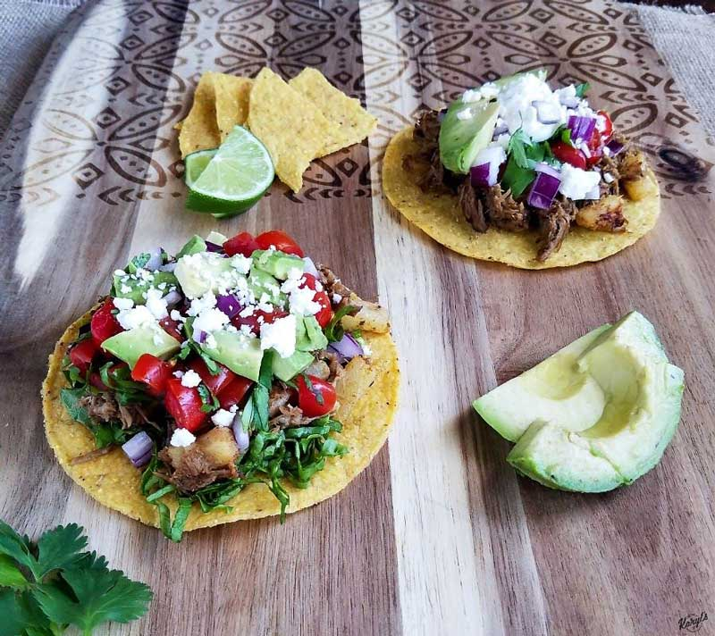 Pork pineapple tostada prok avocado pineapple cinco de mayo recipes