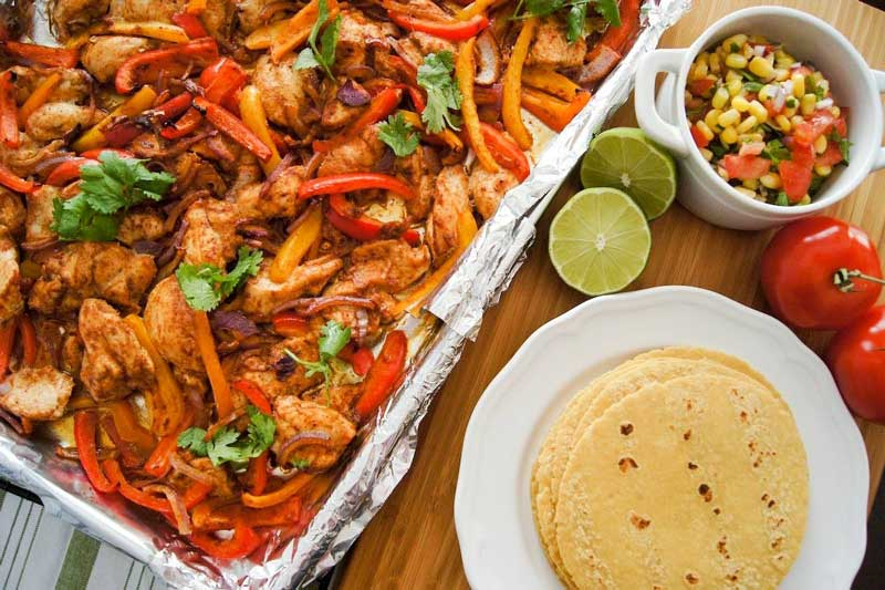 Sheet pan chili lime chicken fajitas tortilla cinco de mayo recipes