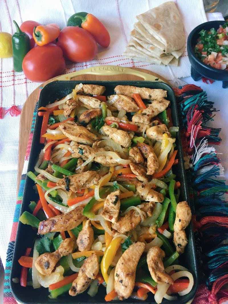 Tequila Fajitas Cinco de Mayo recipes chicken peppers tequila tomato tortillas