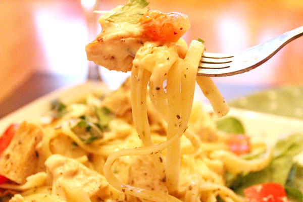 Chicken Alfredo with Herb Buttered Fettuccine