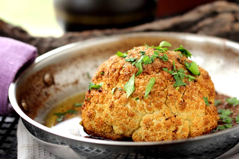 Whole Roasted Cauliflower Golden Butter Roasted Cauliflower Velvety, Nutty and Simple