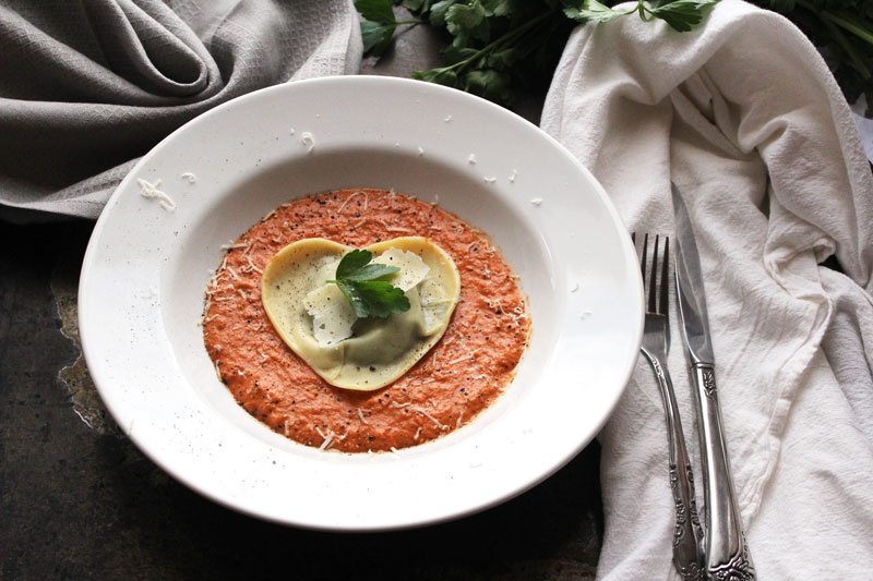 Spinach and Mushroom Ravioli in a Champagne Cream Sauce - Pink Sauce