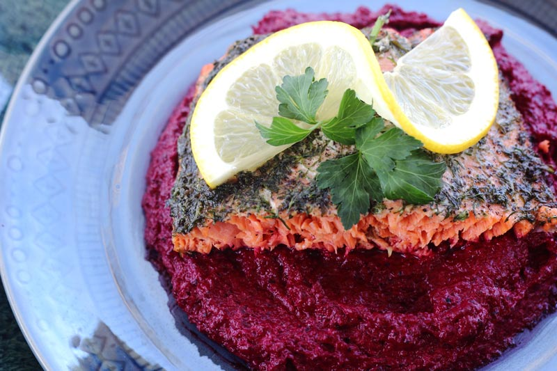 Elegant and beautiful herbed sockeye salmon with roasted beet mash