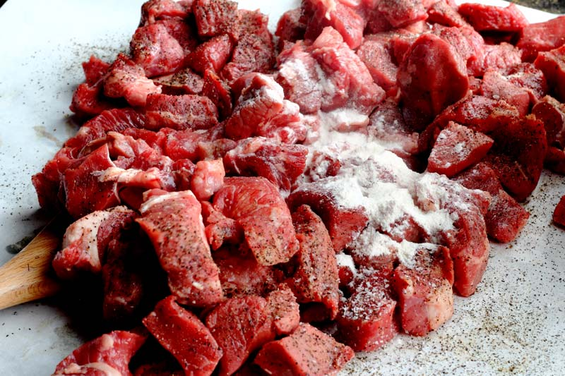 Stew beef with flour for traditional Irish Stew Recipe