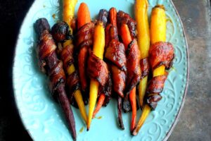 4 Ingredient Maple Honey Roasted Carrots In Bacon
