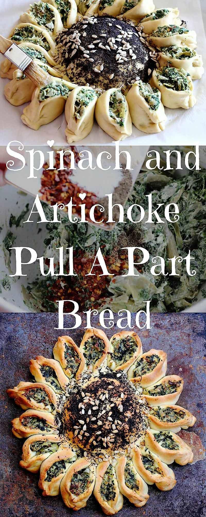 Spinach Artichoke dip stuffed in bread Pull A Part Bread