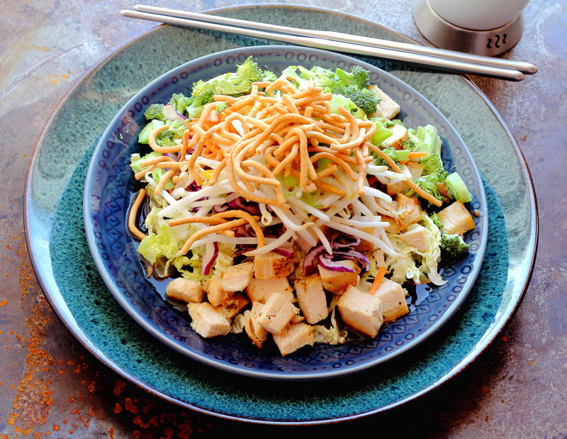 Easy Chinese Chopped Chicken Salad Cabbage, broccoli, carrots, bean sprouts, green onions, lo mein noodles, hoisin, tamarind,